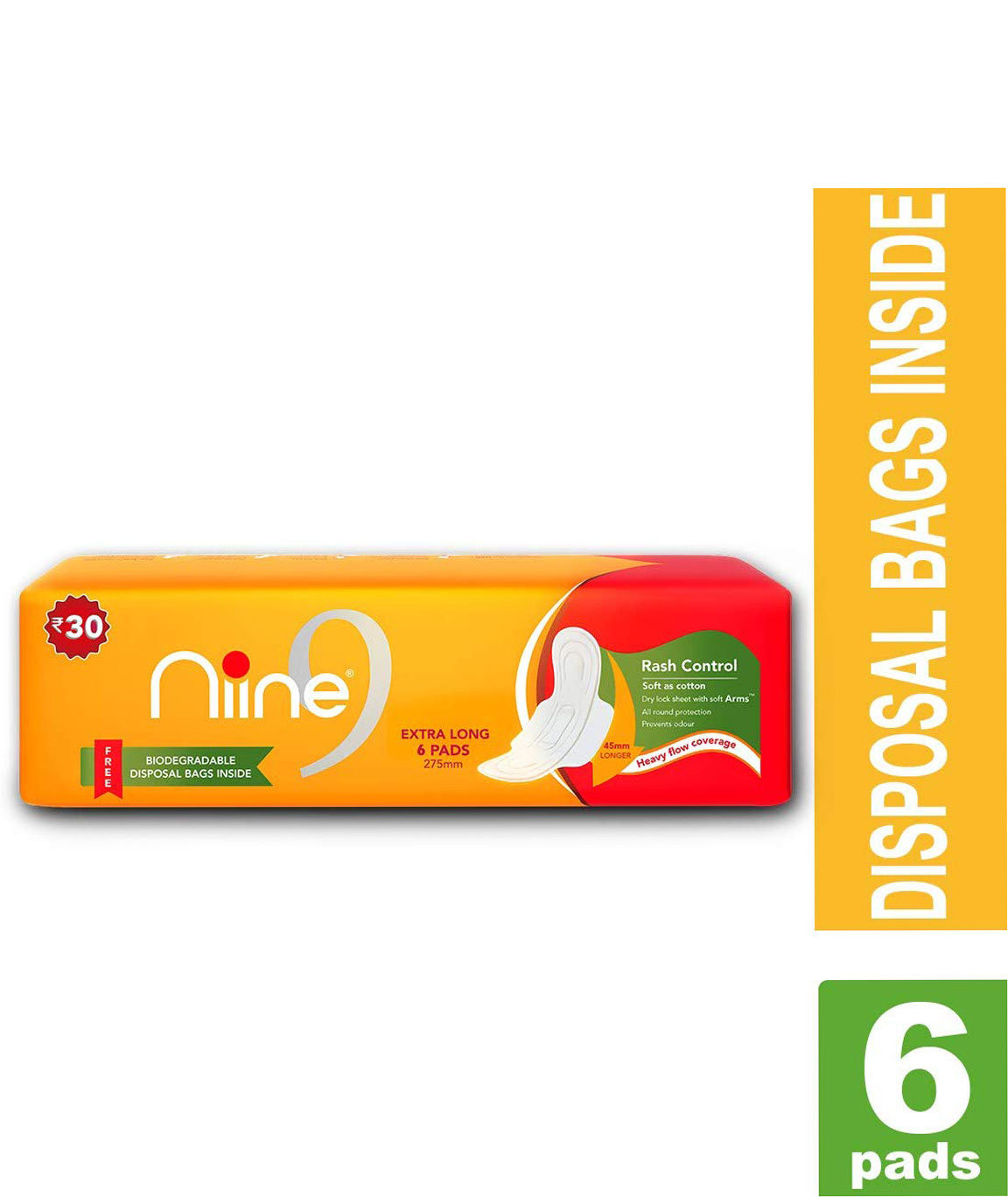 NINE Extra Long 6 Sanitary Pads With Disposable Bags for Women (Pack of 2)