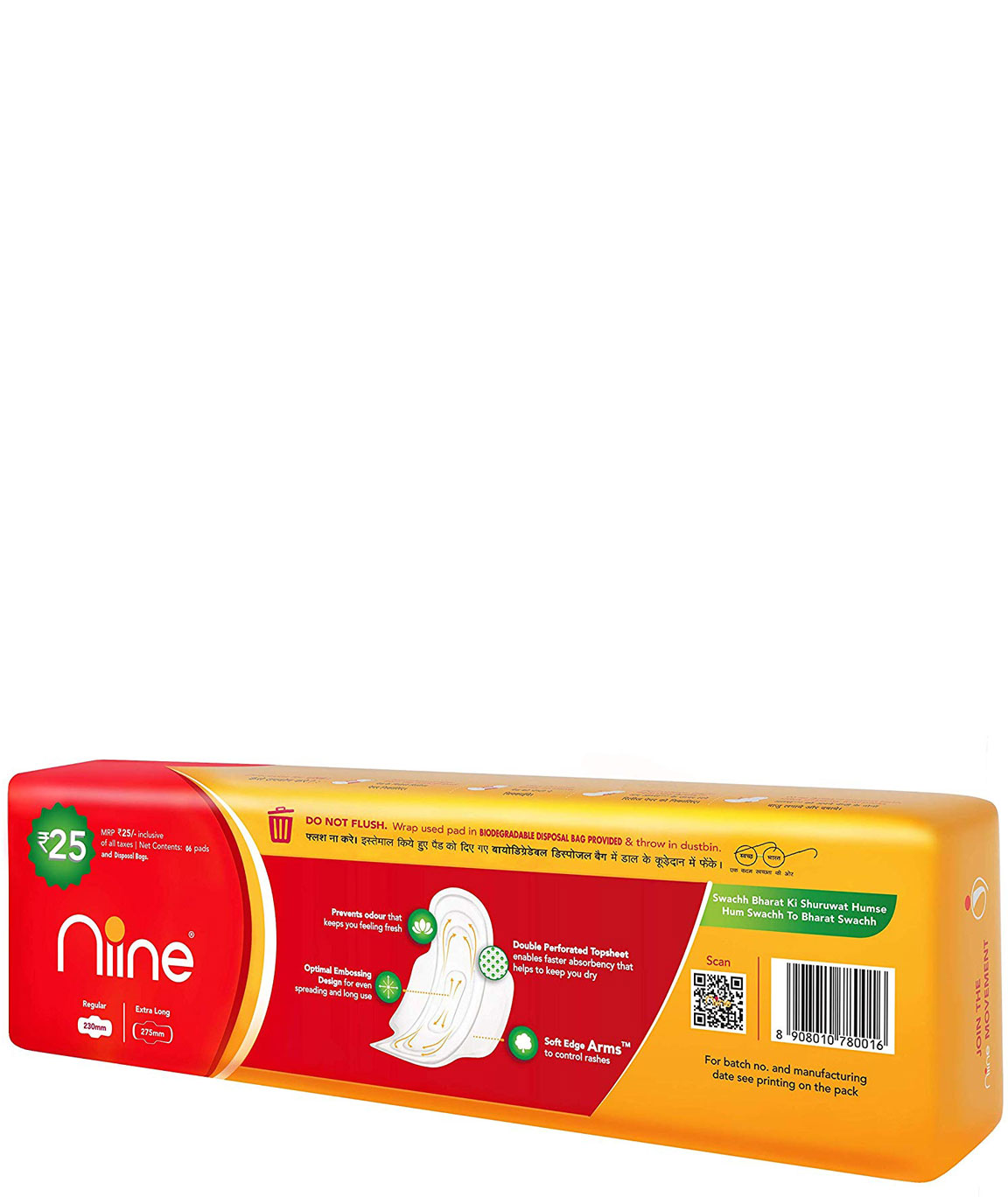 Nine Regular 6 Sanitary Pads With Disposable Bags for Women (Pack of 10)
