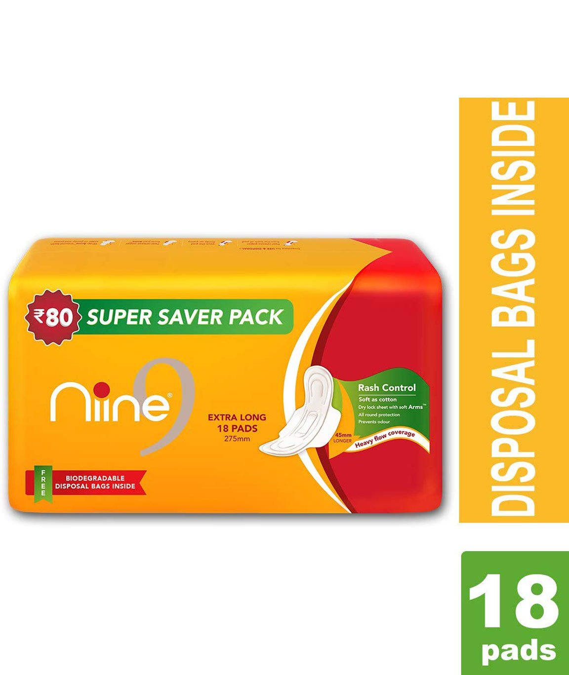Nine Sanitary Pad Extra Long 18`s (SUPER SAVER PACK)