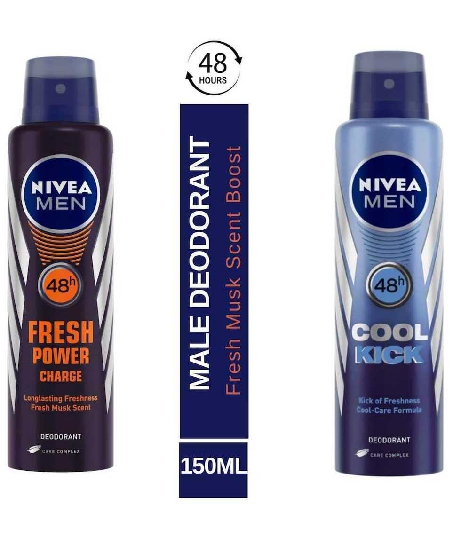 Nivea Fresh Power Charge Deodorant, 150ml and Nivea Cool Kick 48 Hour Deodorant for Men, 150ml
