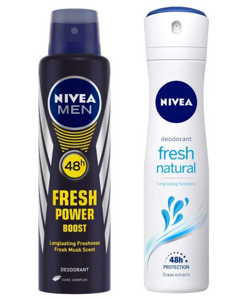 NIVEA MEN Deodorant, Fresh Power Boost, 150ml and Nivea Fresh Natural Deodorant For Women, 150ml