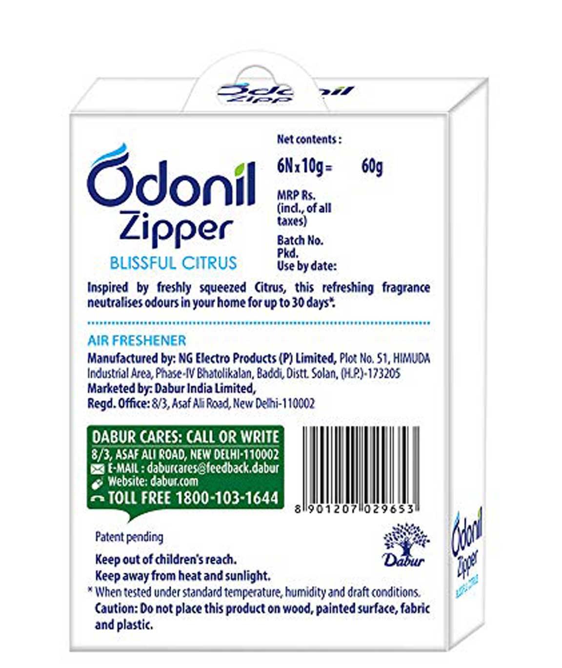 Odonil Zipper Blissful Air Freshener - 10 g (Citrus Pack of 6)