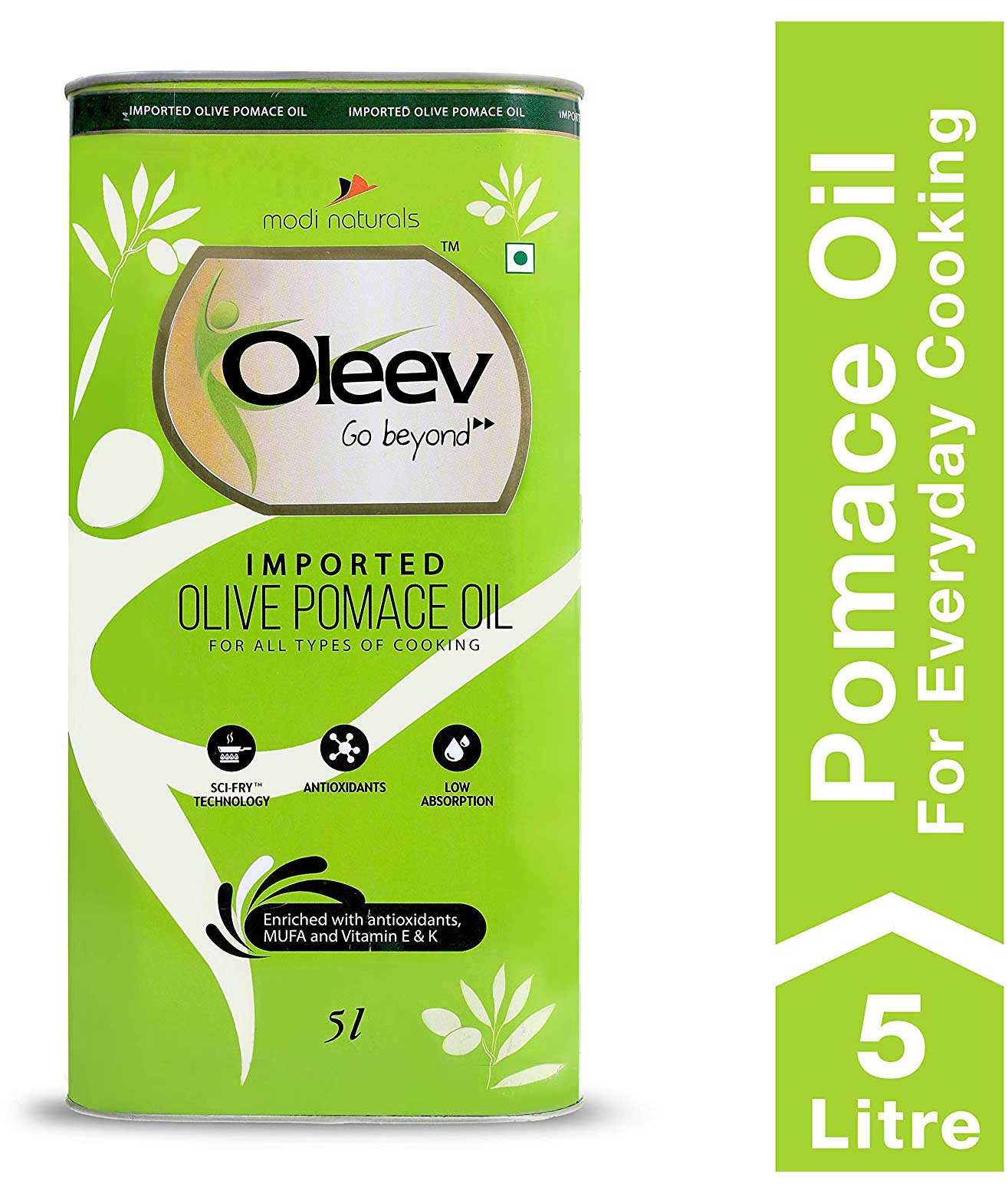 Oleev Olive Pomace Oil, for Everyday Healthy Cooking, Tin, 5L