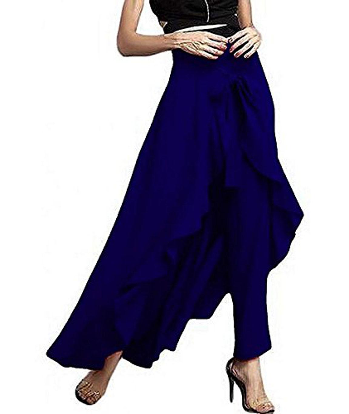 women Wear Ruffle Palazo Rayon Skirt(navy blue)