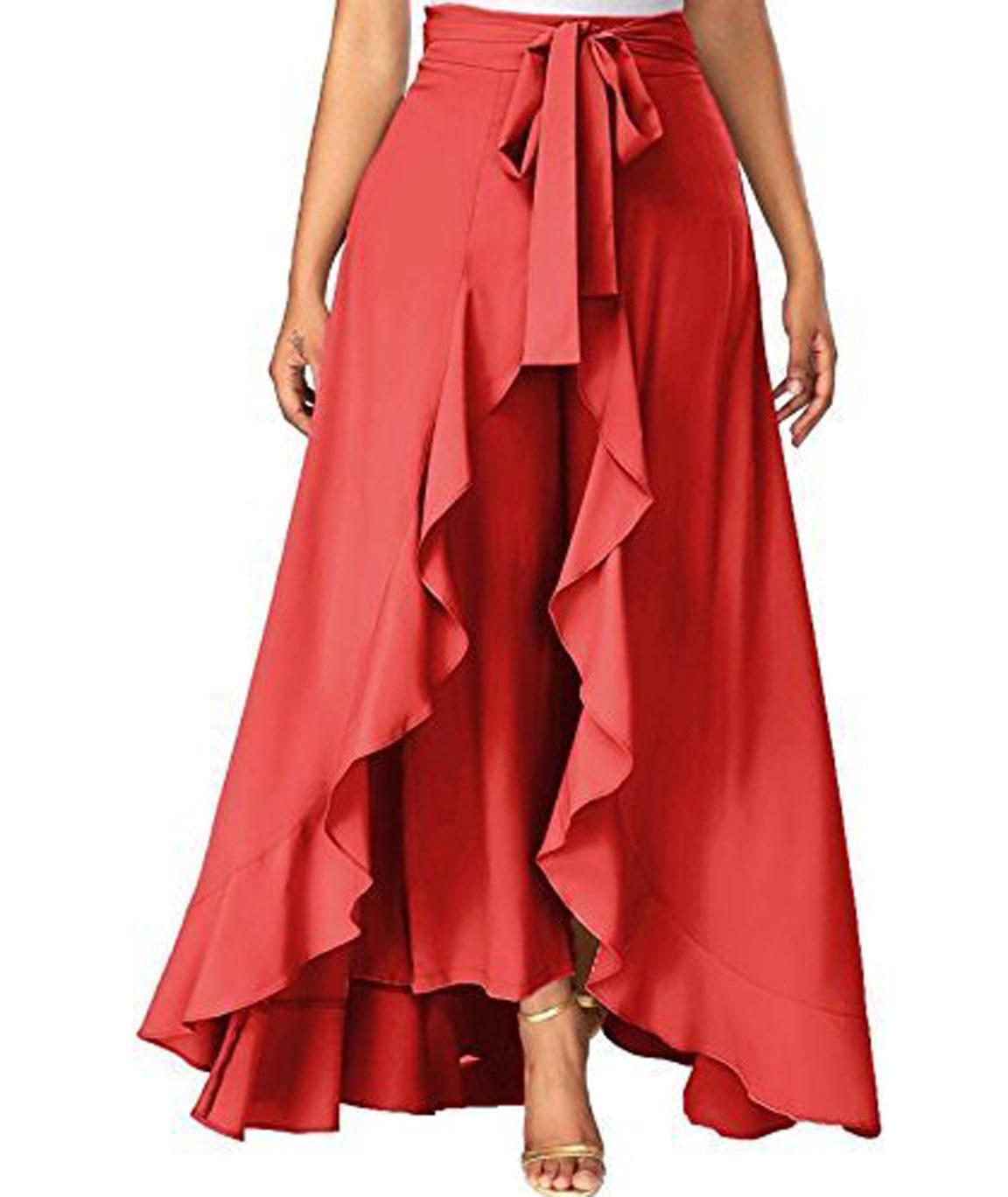 women Wear Ruffle Palazo Rayon Skirt(pink)