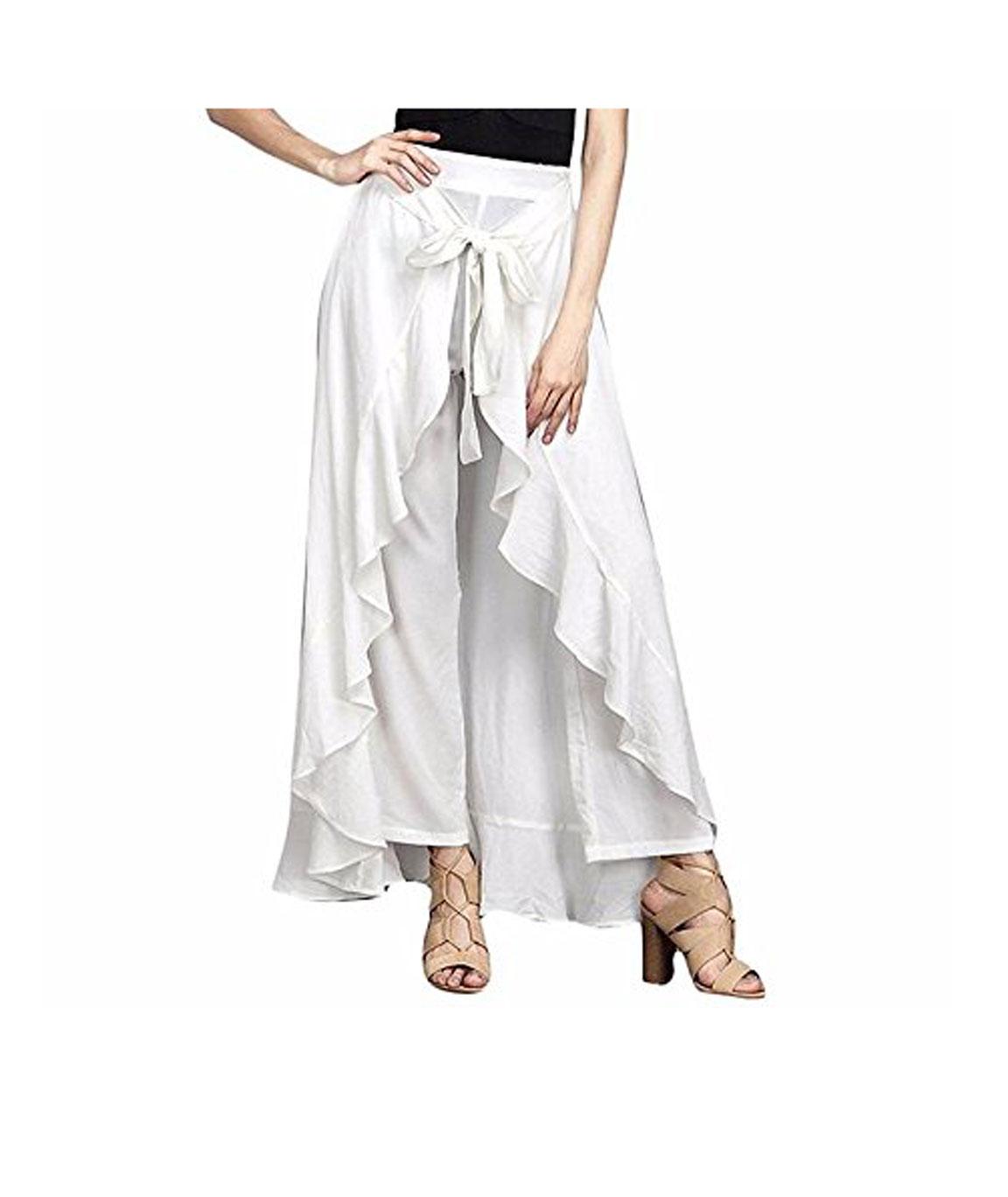 women Wear Ruffle Palazo Rayon Skirt(white)