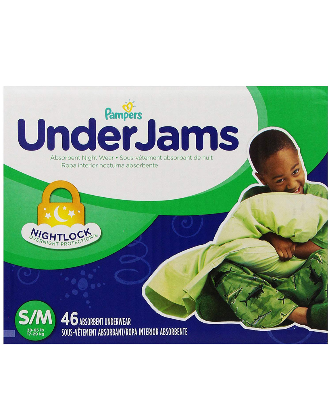 Pampers UnderJams Boys Diapers Big Pack Size 7 S/M 46 Count