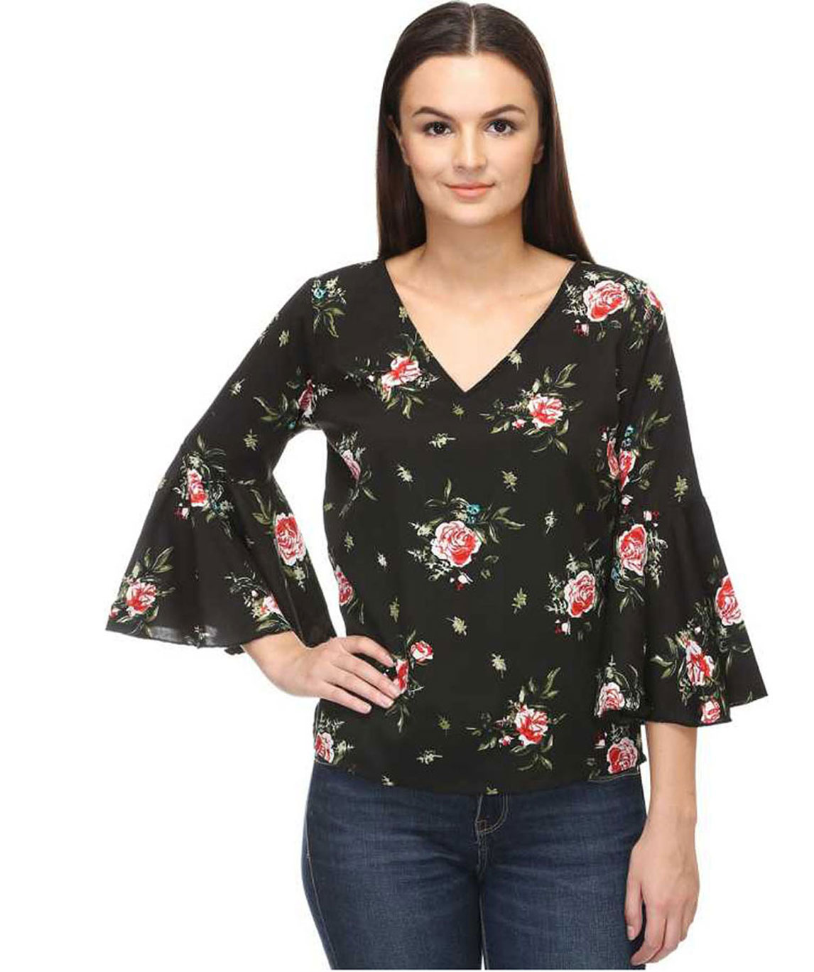 PARTY BELL SLEEVE FLORAL PRINT WOMEN BLACK, RED TOP