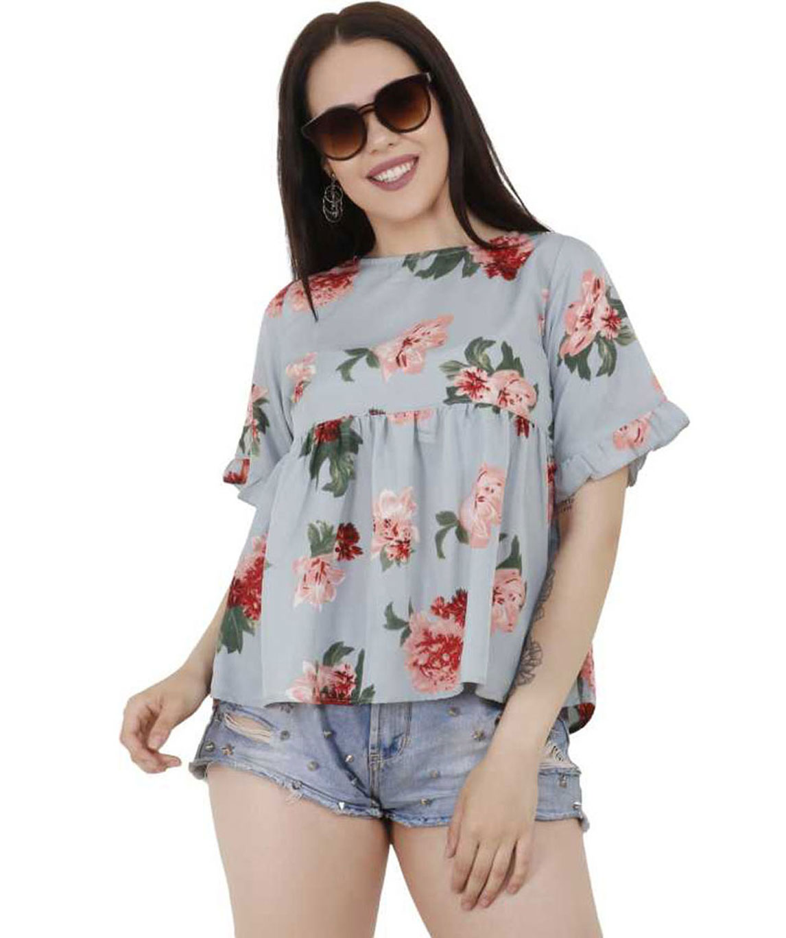 PARTY SHORT SLEEVE PRINTED WOMEN GREEN TOP