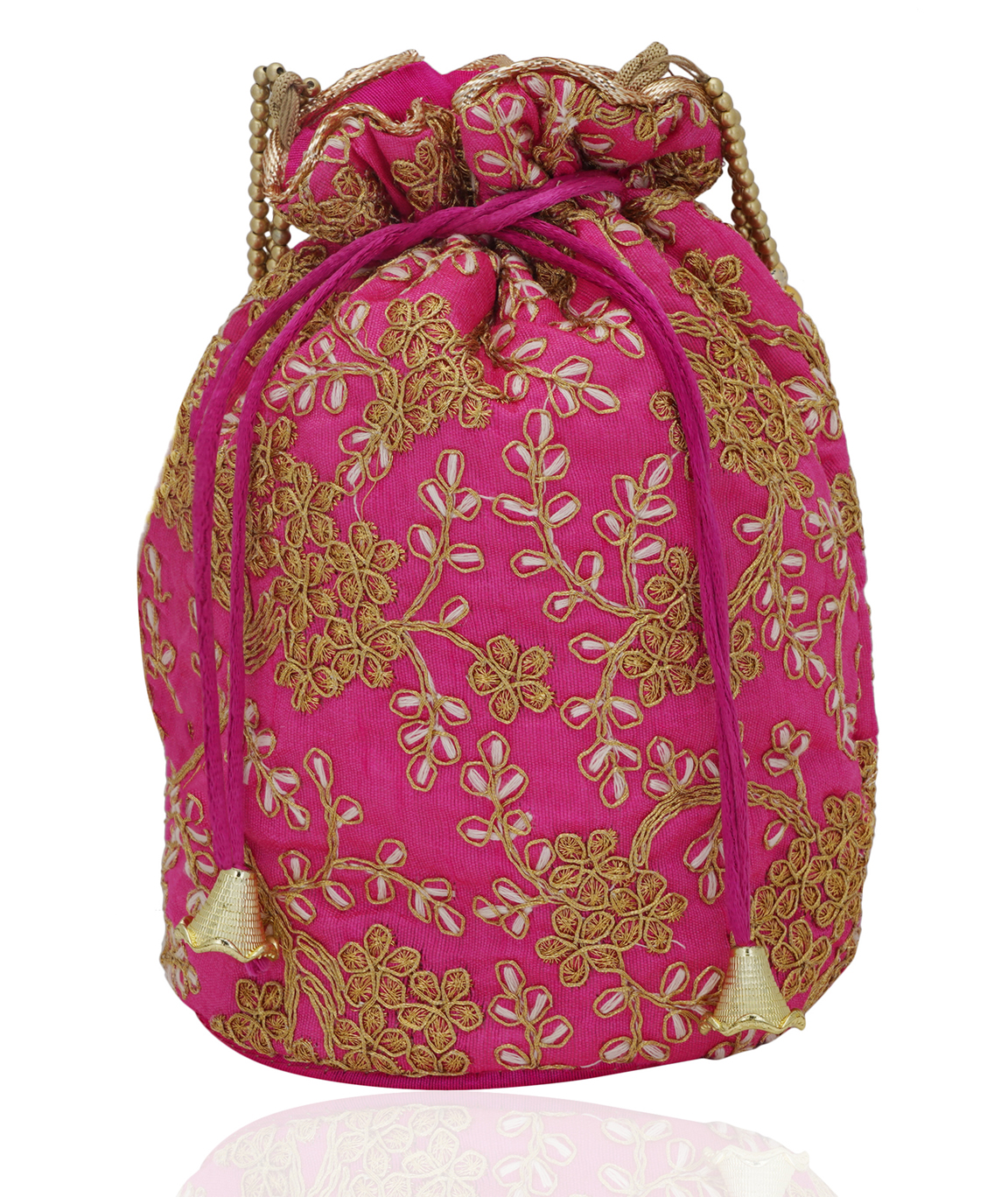 Pink Embroidered Potli Bag in Golden Zari and Beads(COLOUR : PINK)