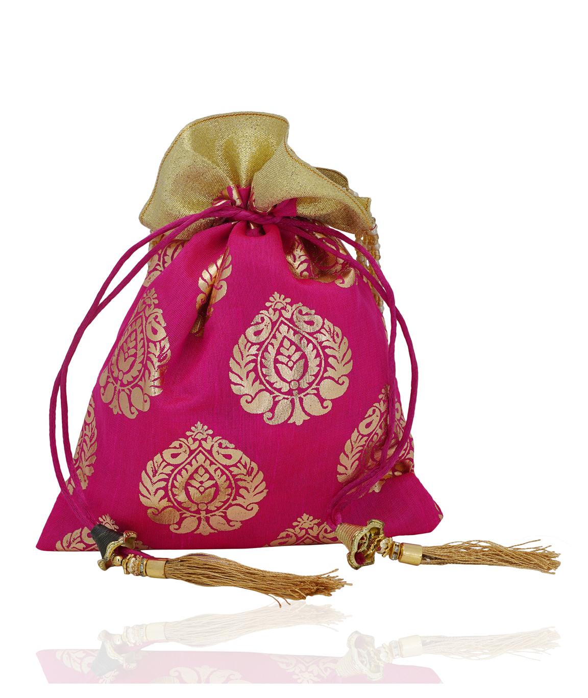 Pink Foil Print Dupion Silk Potli Bag With Golden Tassels(COLOUR : PINK)