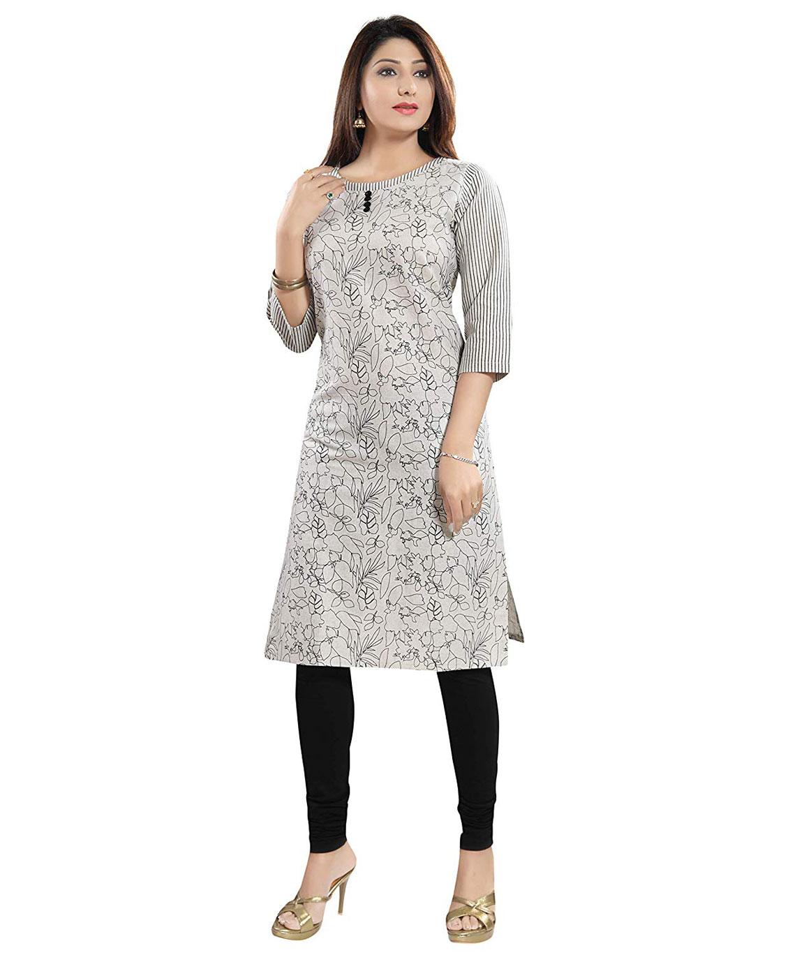 Plus Size Designer Cotton A-LINE Kurti for Women Grey