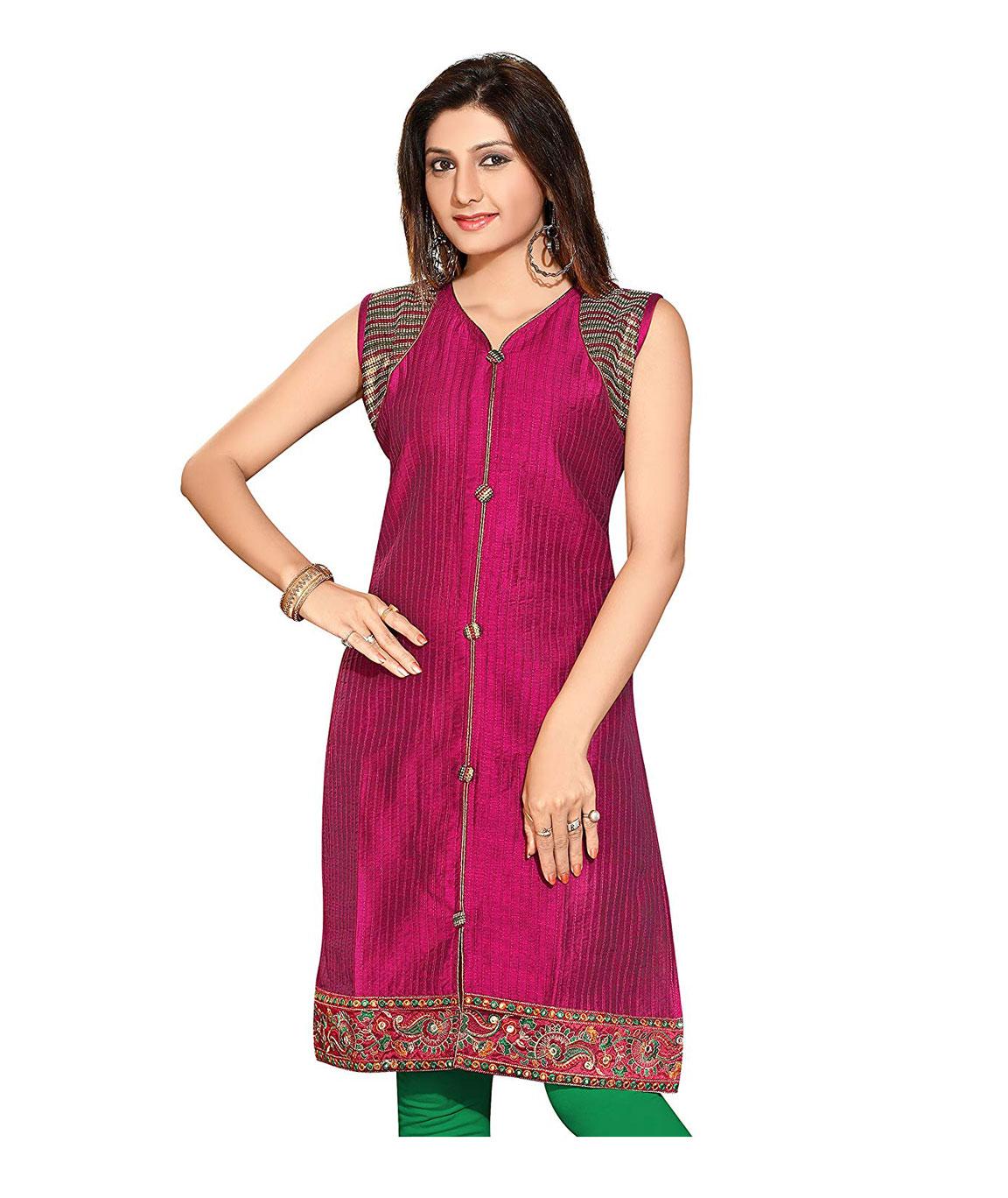 Plus Size Designer Cotton Silk Long Kurti for Women