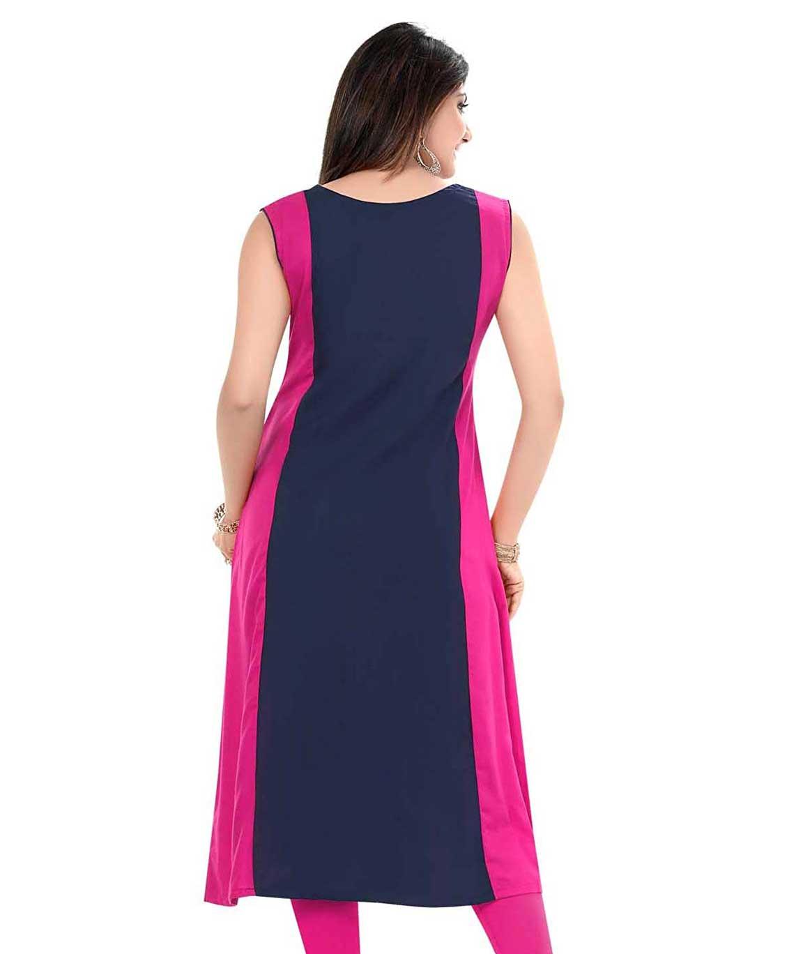 Plus Size Kurtis Designer Pink and Navy-Blue Rayon A-LIINE Kurti