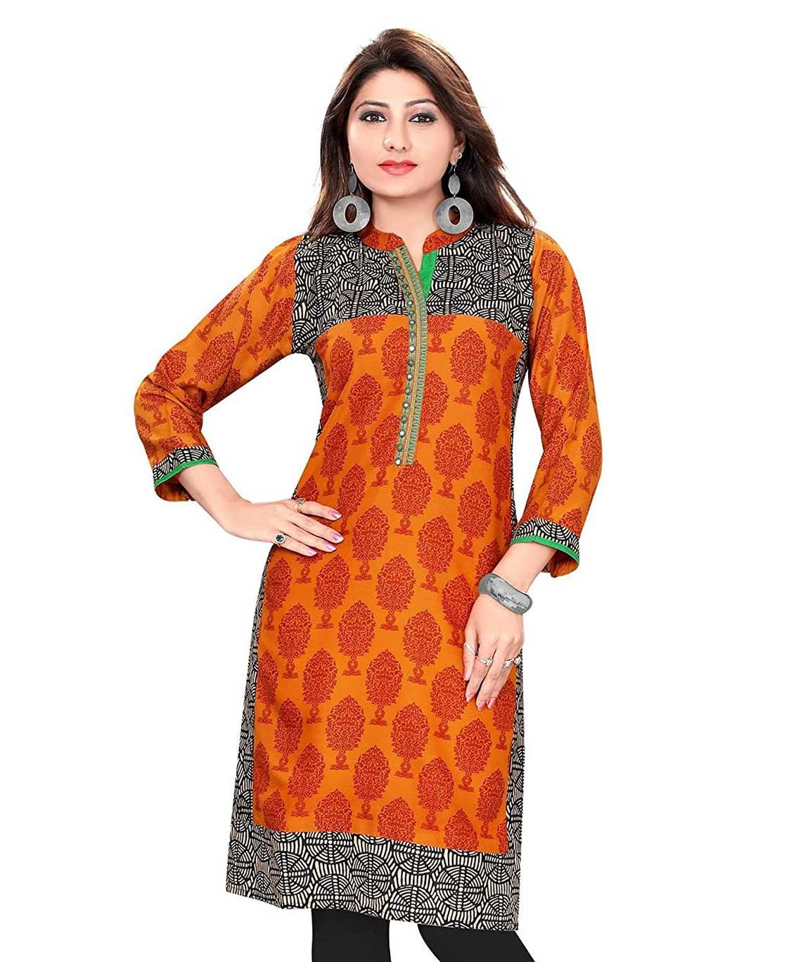 Plus Size Kurtis Orange Designer Printed Kurti
