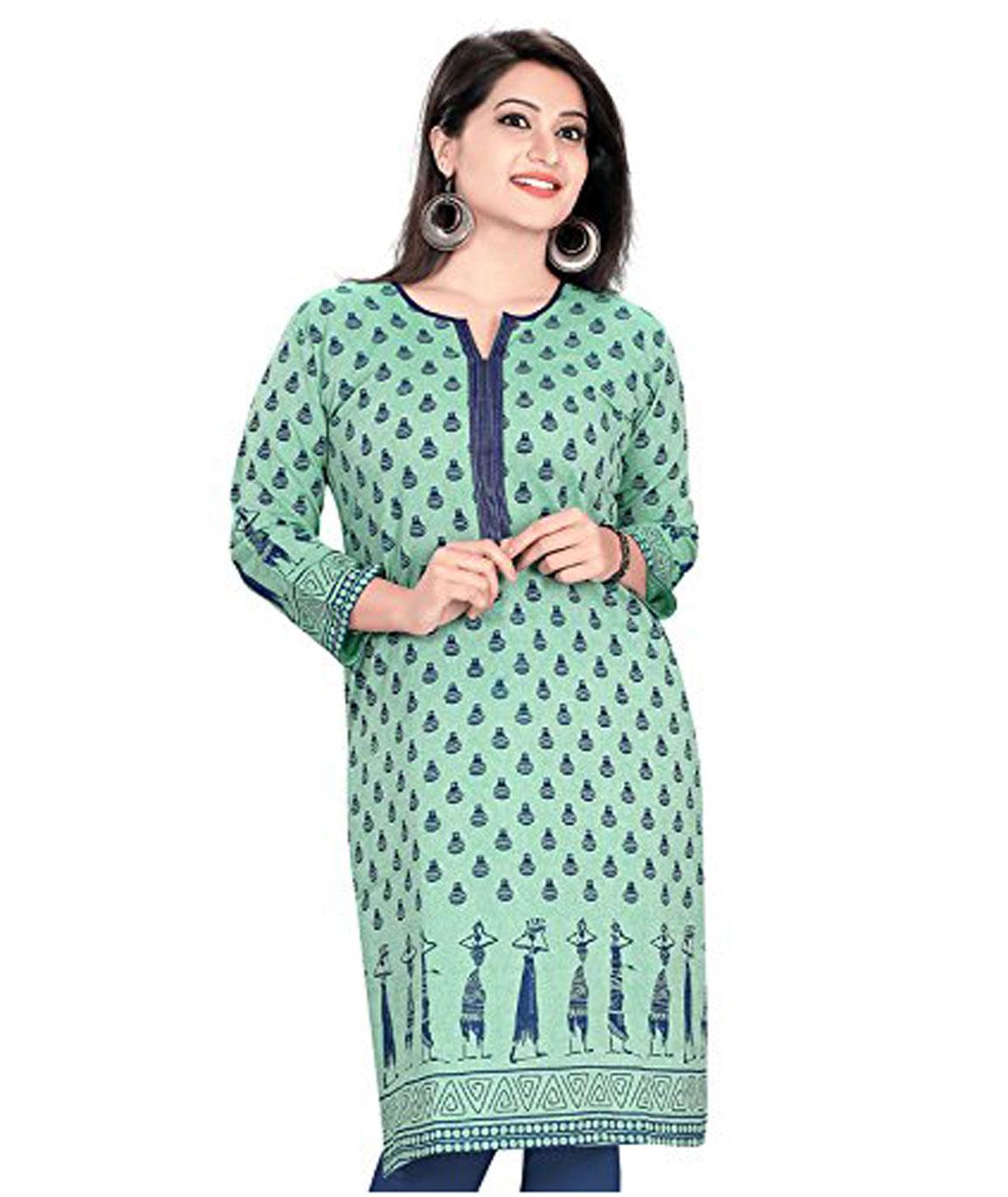 Plus Size Kurtis Women`s A-Line Kurta(AM0418-L_Turquoise_38)