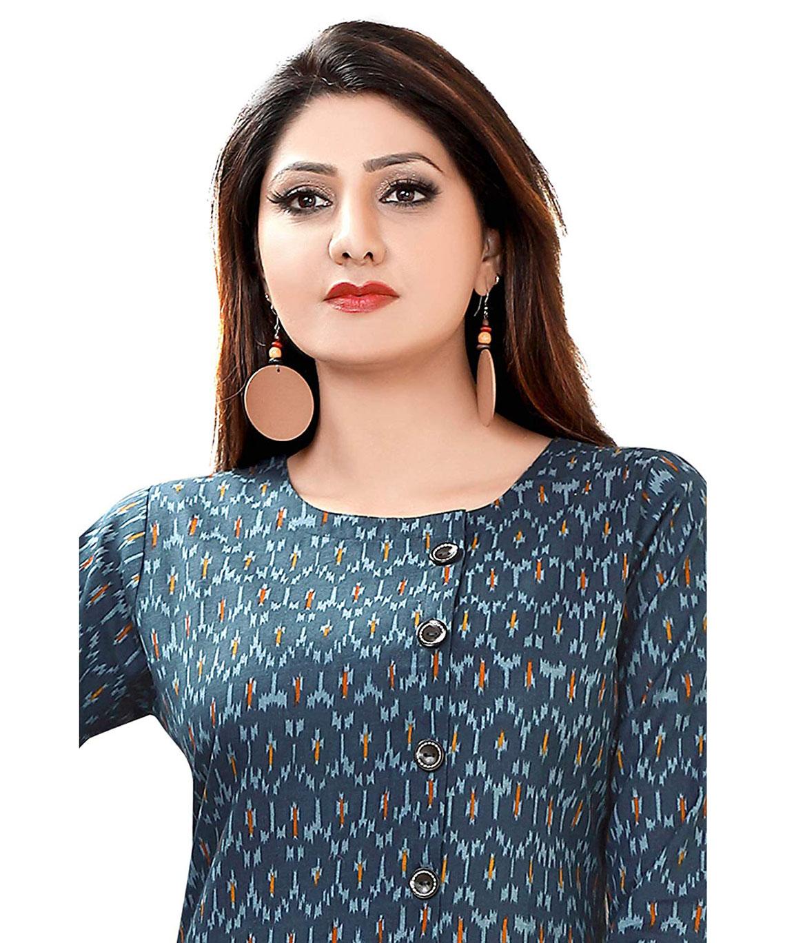 Plus Size Kurtis Women`s Cotton Long Printed A-Line Style Kurti (Blue, Medium)