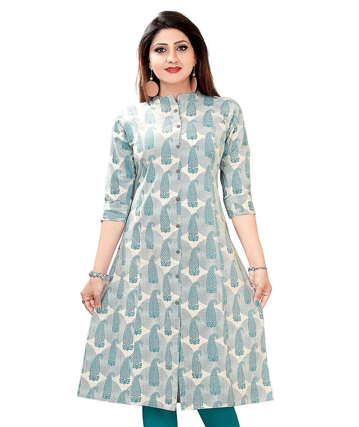 Plus Size Printed Kurti for Womens Light Blue