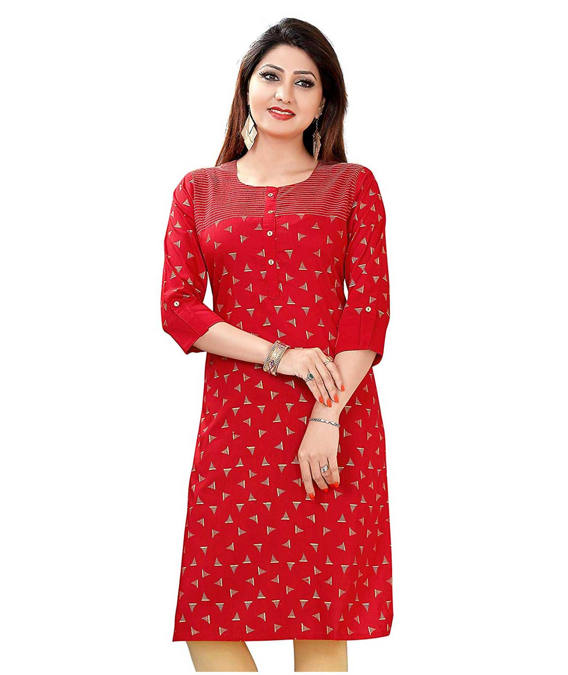 Plus Size Printed Kurti for Womens Red