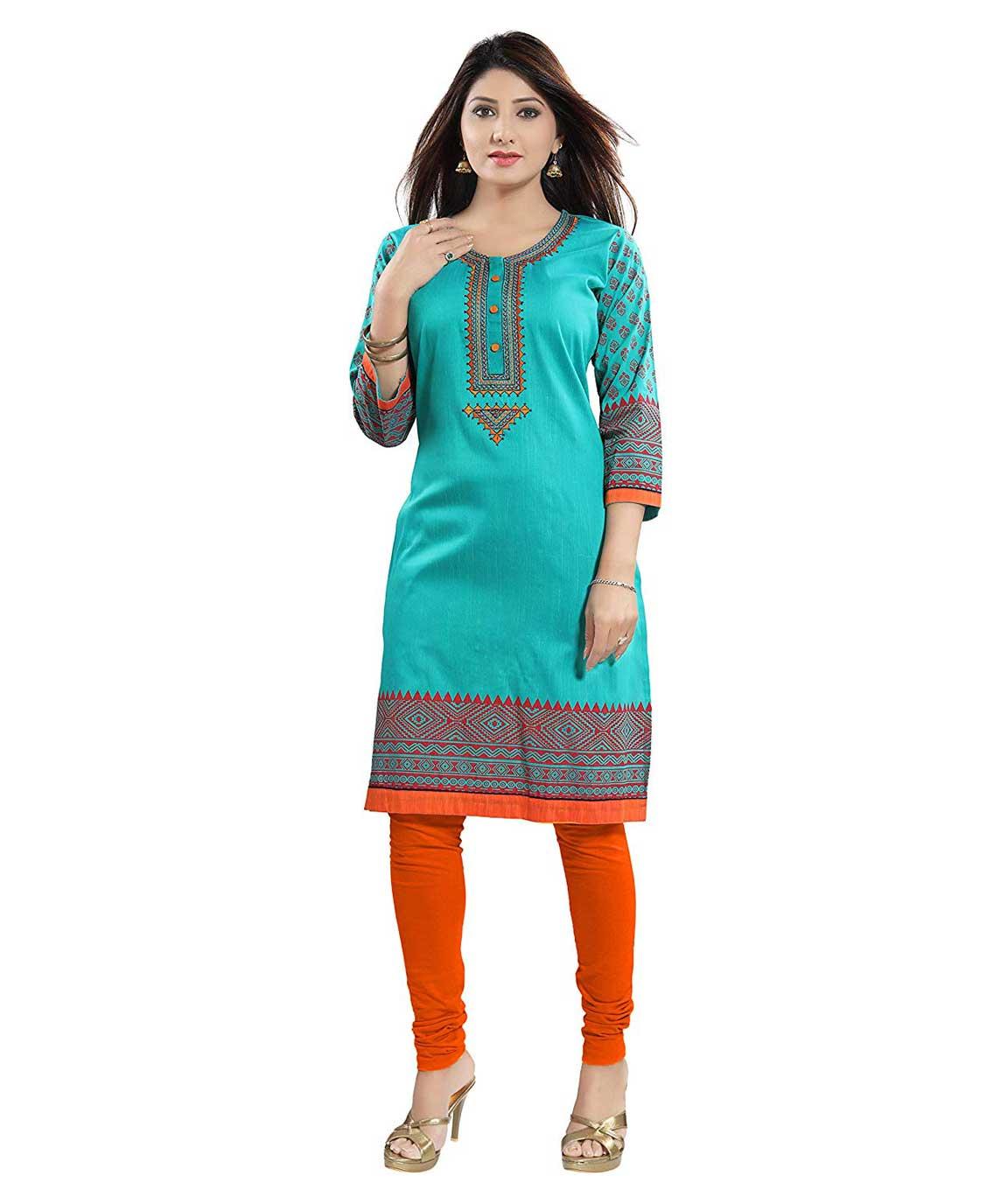 Plus Size RAMA Green A-LINE Style Cotton Silk Kurti