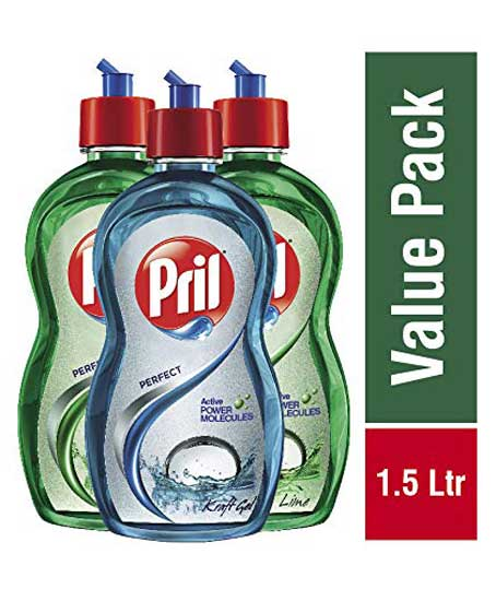 Pril Lime Dish Wash - 500 ml (Pack of 2) with Pril kraft - 500 ml
