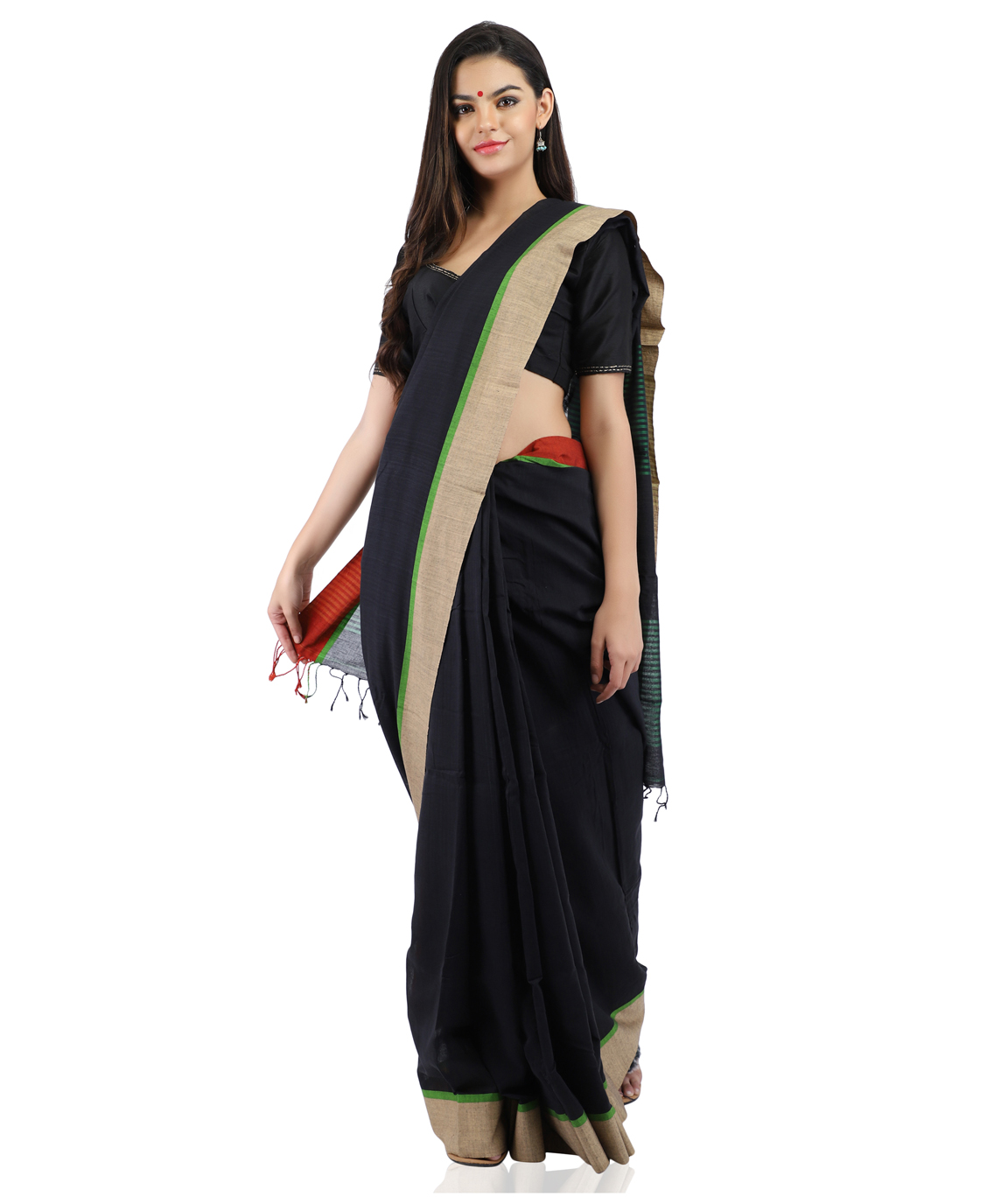 Pure Cotton Handloom Black Saree in Contrast Border With Blouse Piece