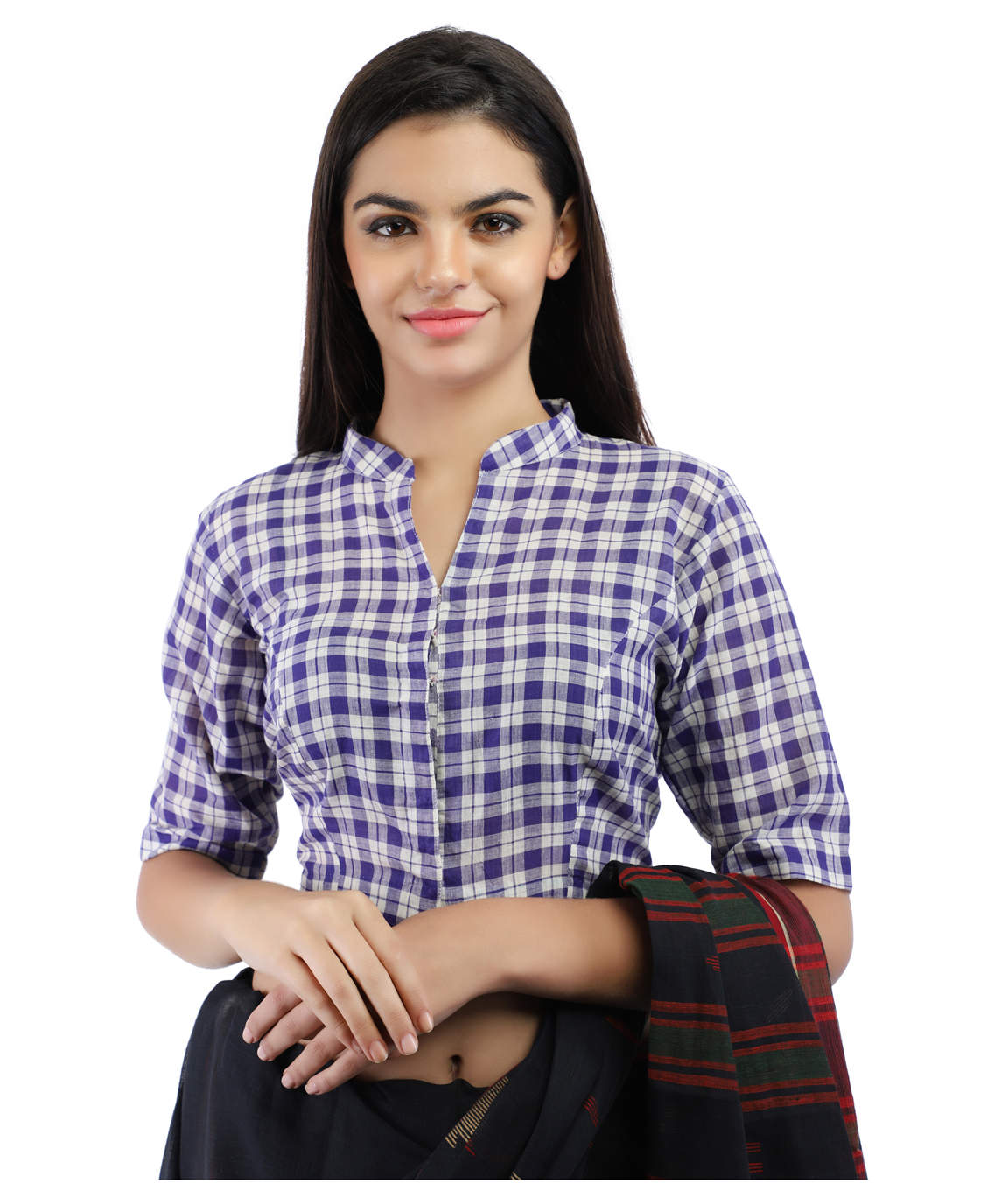 Pure Cotton Handloom Checks Blouse in Purple and White Band Collar With Hook Closure on Front(PURPLE & WHITE CHECKS)
