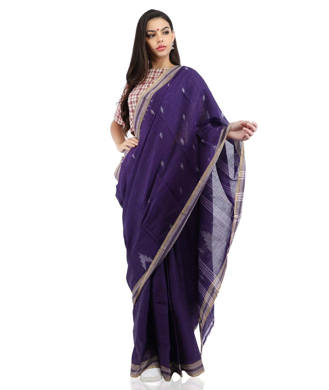 Pure Cotton Handloom Purple Saree With Jamdani Woven(COLOUR : PURPLE)