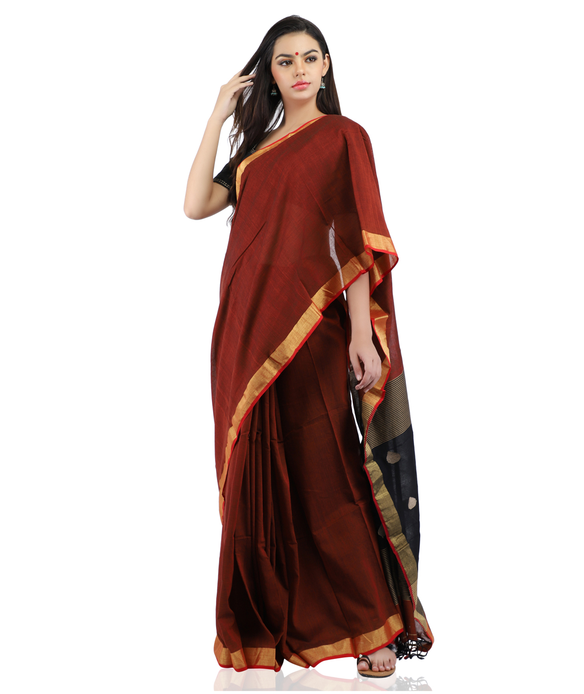 Pure Cotton Handloom Saree in Maroon With Zari Border and Blouse Piece
