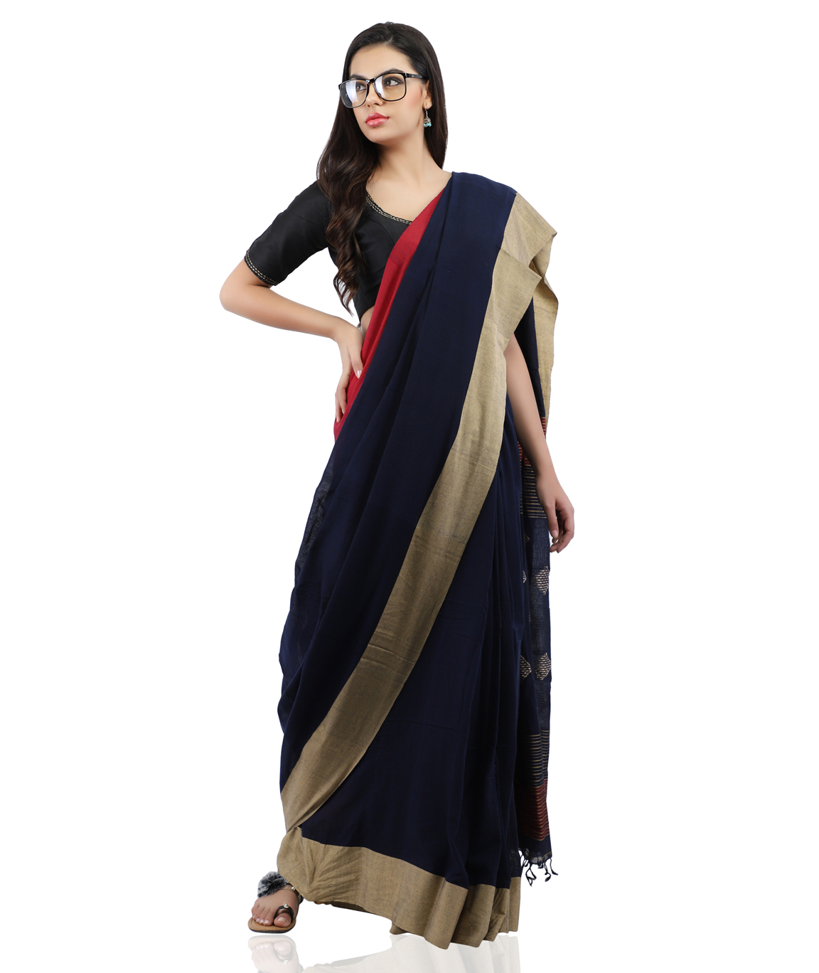 Pure Cotton Handloom Saree in Navy Blue With Blouse Piece