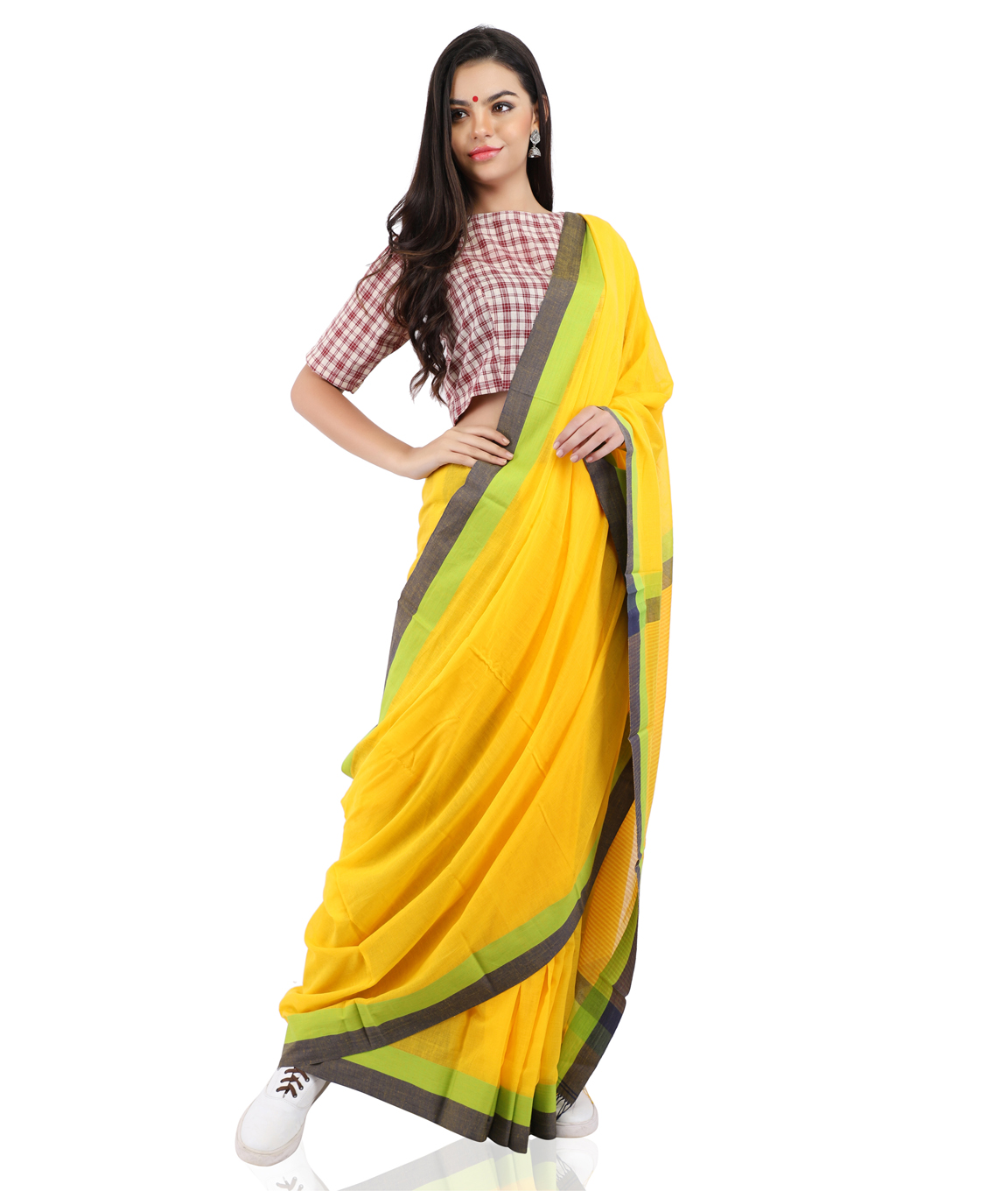 Pure Cotton Handloom Yellow Saree in Contrast Border With Blouse Piece(COLOU : YELLOW)
