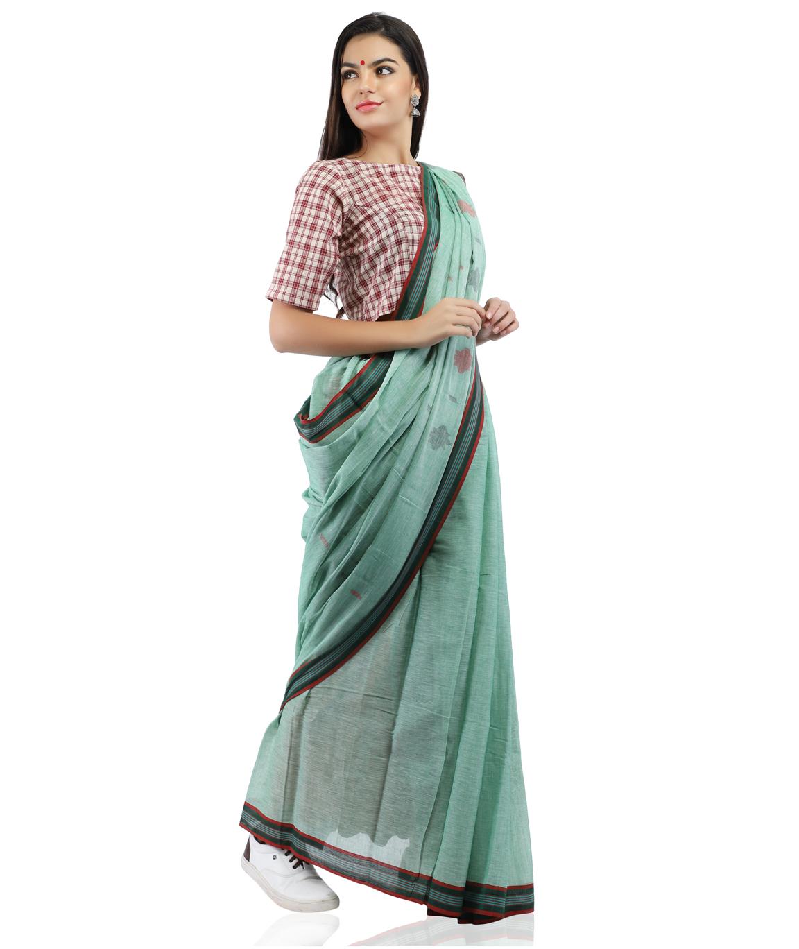 Pure Cotton Jamdani Handloom Saree in Pastel Green