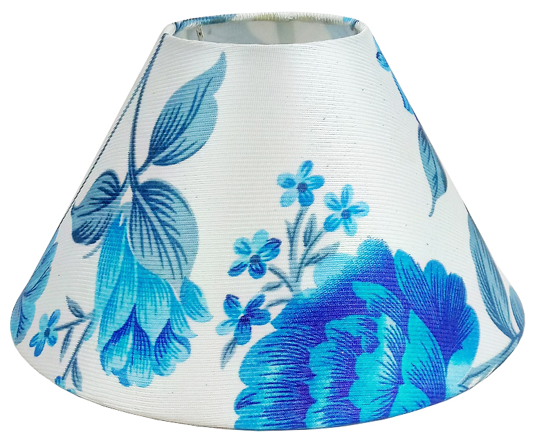 RDC 10 Inches Round Blue on White Floral Designer Lamp Shade for Table Lamp