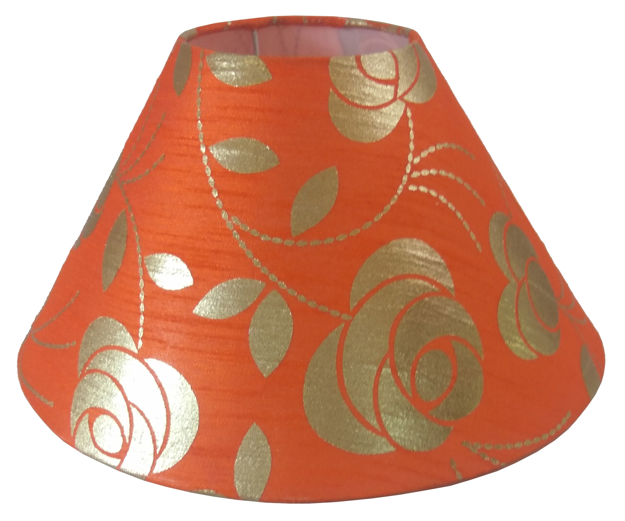 RDC 10 Inches Round Orange with Golden Floral Design Lamp Shade for Table Lamp