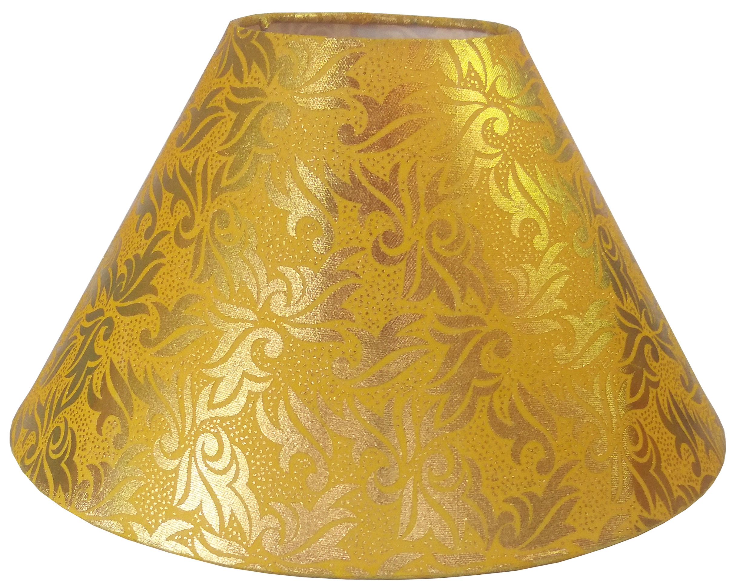 RDC 10 Inches Round Yellow with Golden Design Lamp Shade for Table Lamp