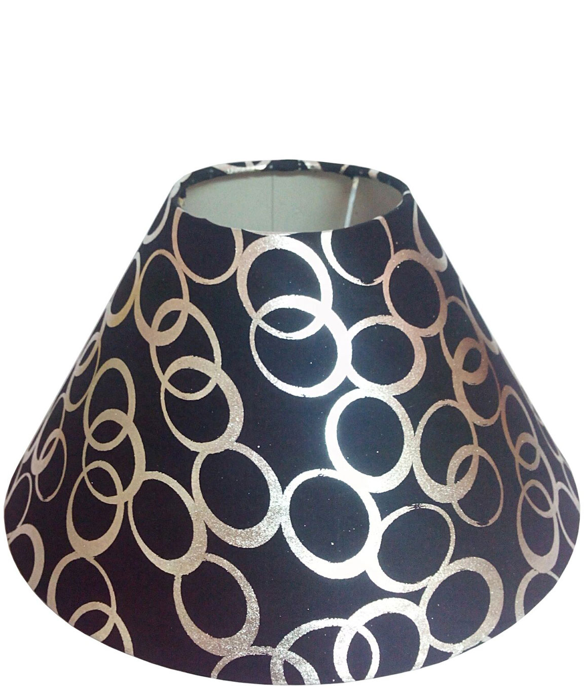 RDC 10 Inches Round Black with Silver Polka Dots Designer Lamp Shade