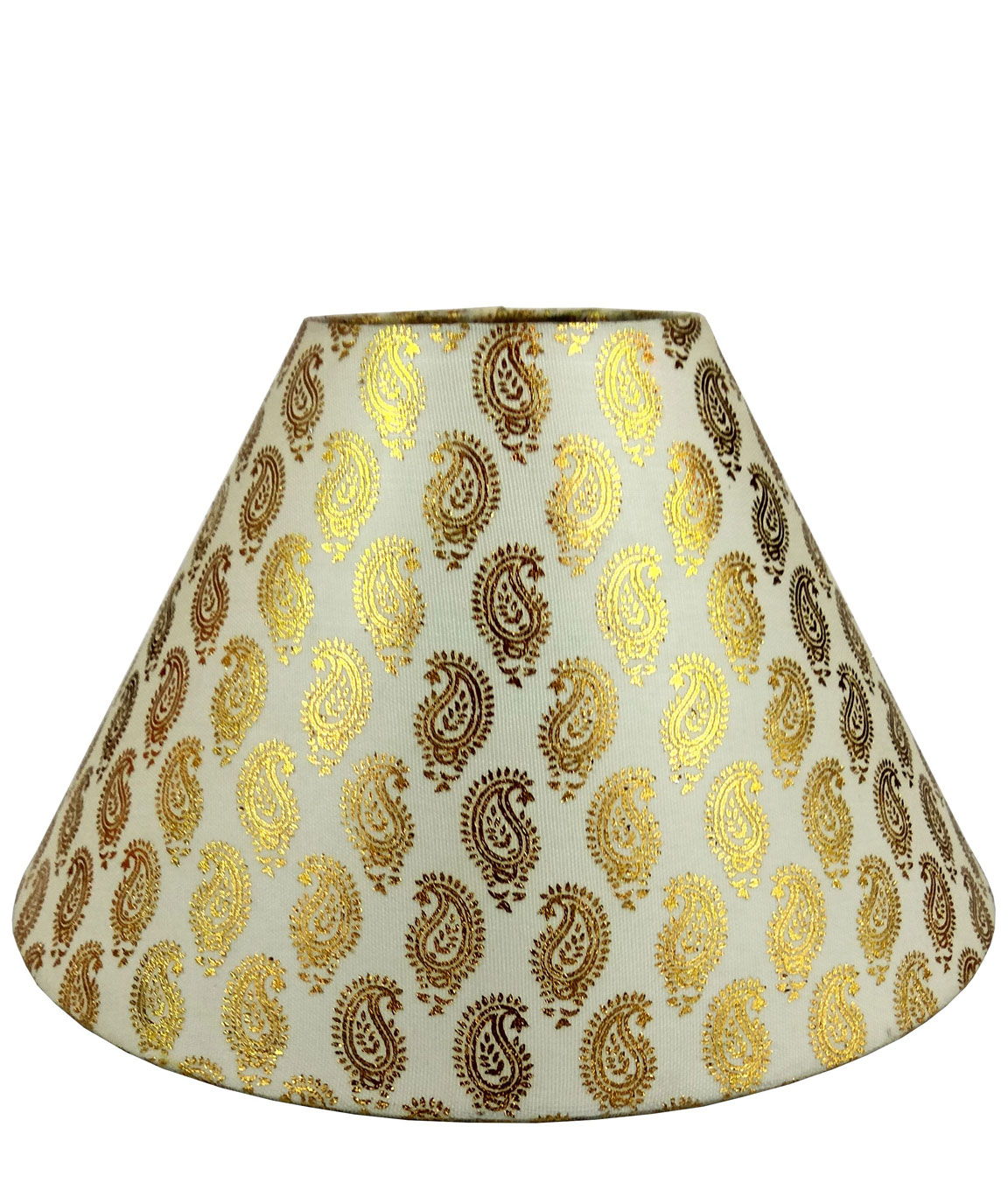 RDC 10 Inches Round Cream with Golden Designer Lamp Shade for Table Lamp