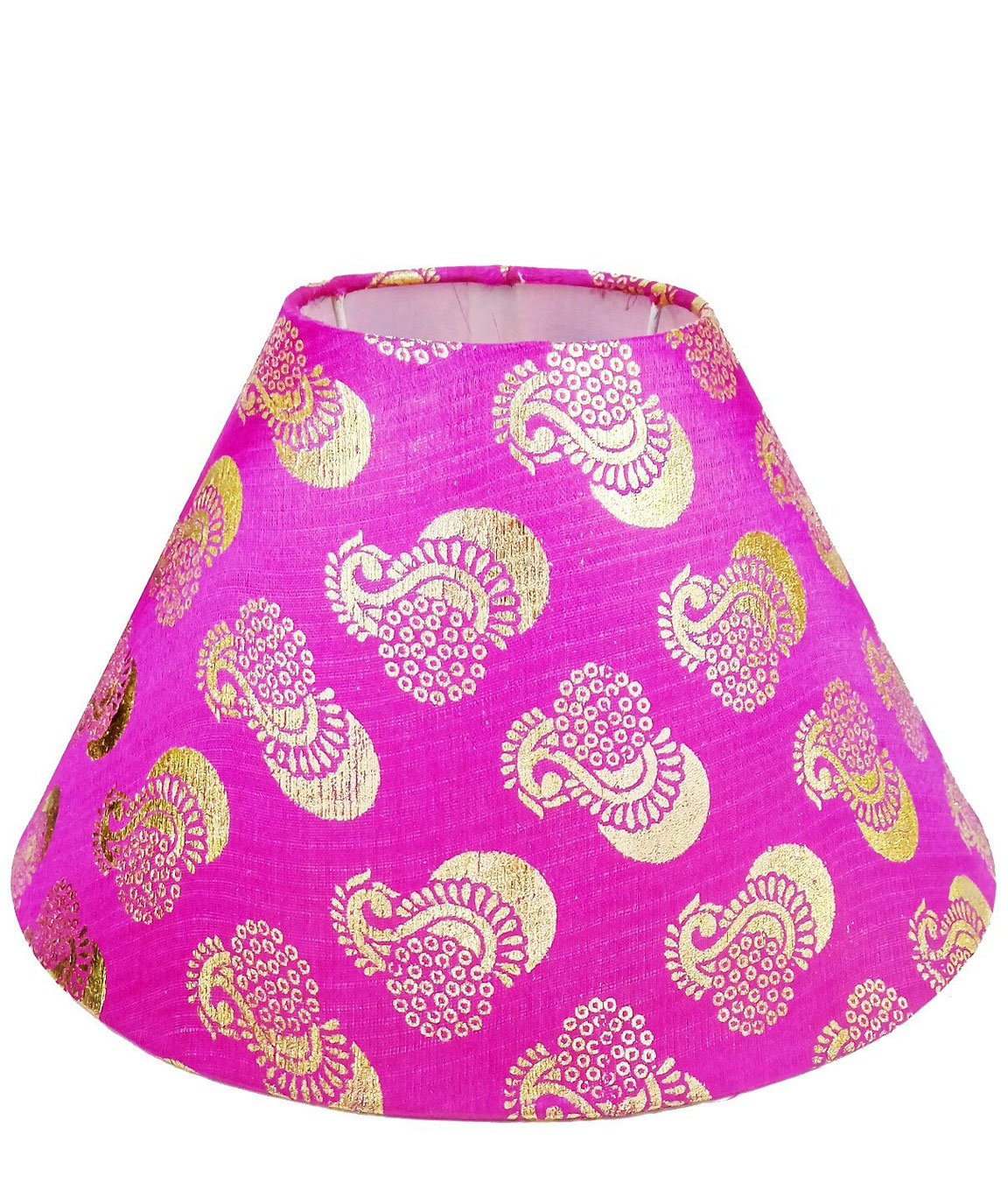 RDC 10 Inches Round Pink with Golden Designer Lamp Shade
