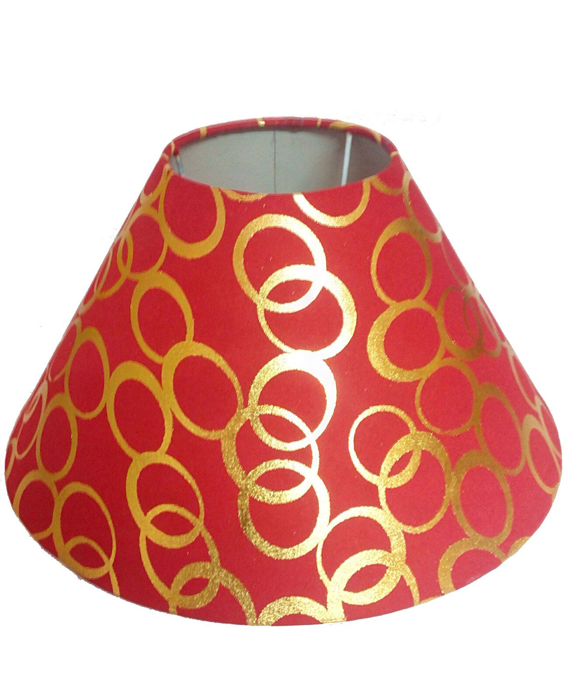 RDC 10 Inches Round Red with Golden Polka Dots Designer Lamp Shade for Table Lamp