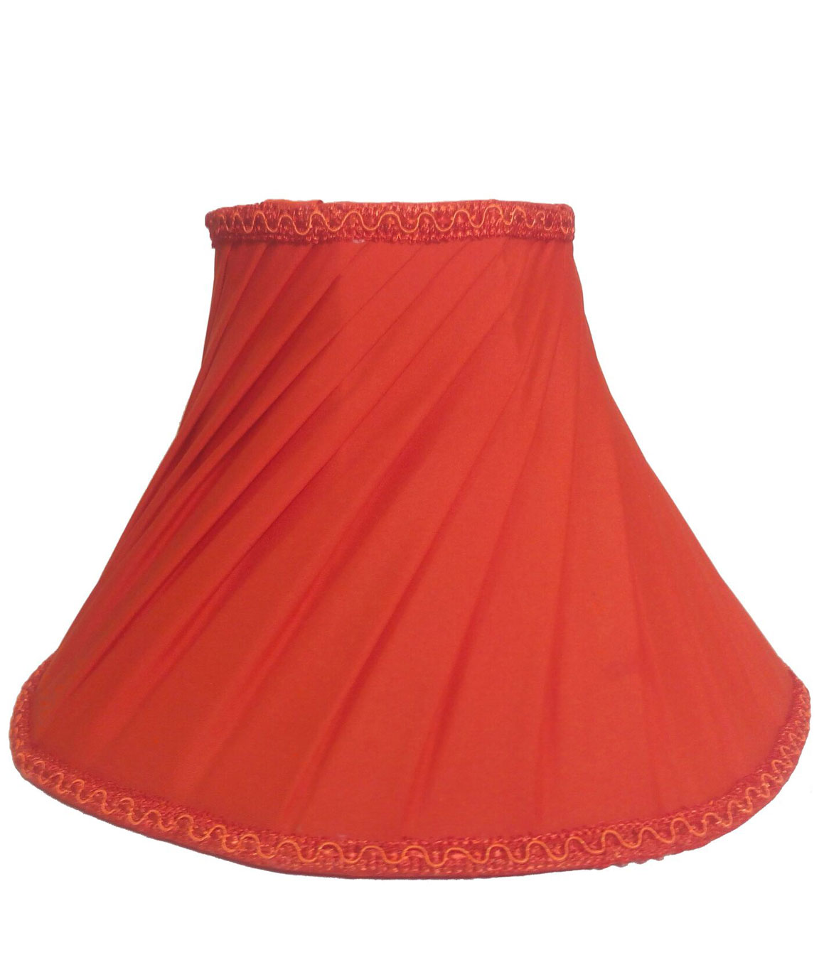 RDC 10 Inches Round Slanting Pleated Orange with Lace Border Lamp Shade for Table Lamp