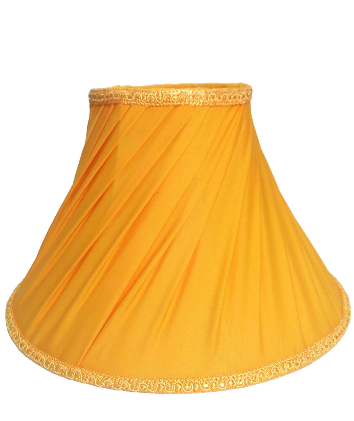 RDC 10 Inches Round Slanting Pleated Yellow with Lace Border Lamp Shade for Table Lamp
