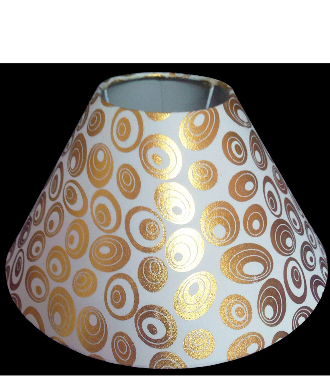RDC 10 Inches Round White with Golden Polka Dots Designer Lamp Shade for Table Lamp