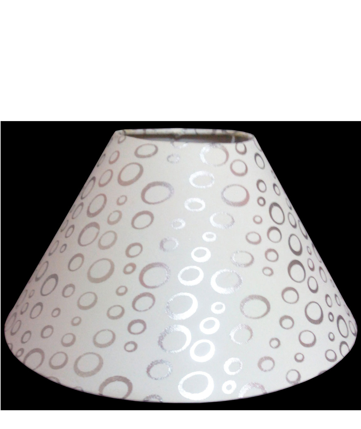 RDC 10 Inches Round White with Silver Polka Dots Designer Lamp Shade for Table Lamp