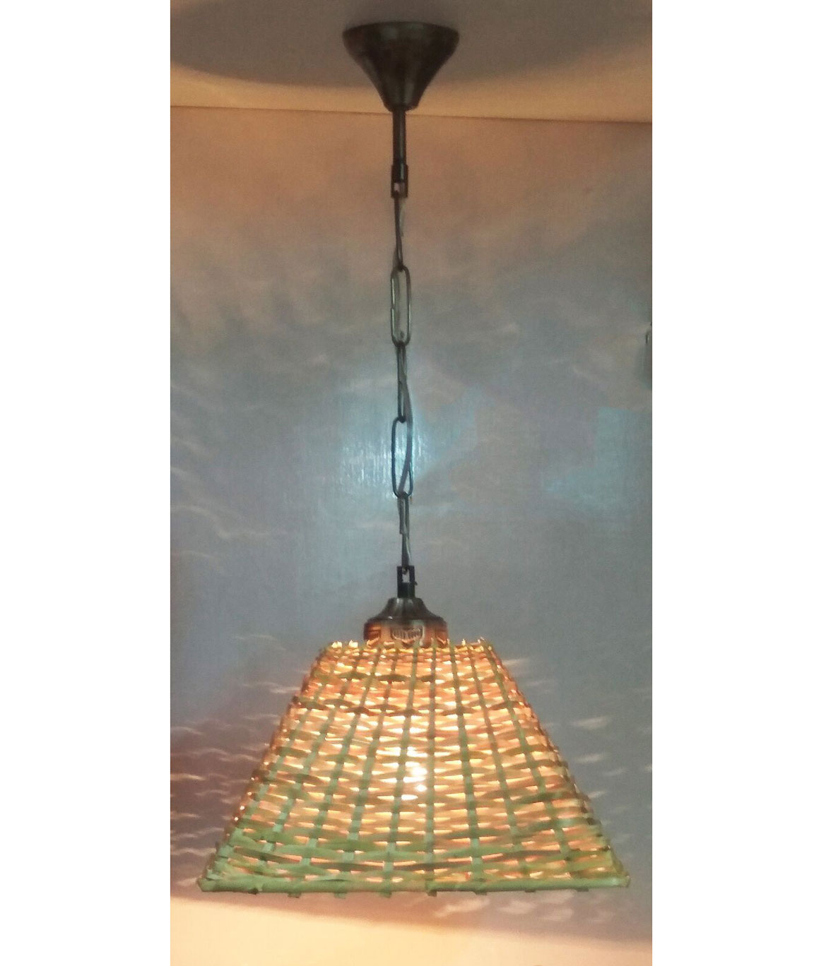 RDC 10 Inches Square Cane Ceiling Hanging Pendant Lamp Shade with Wired Metal Chain