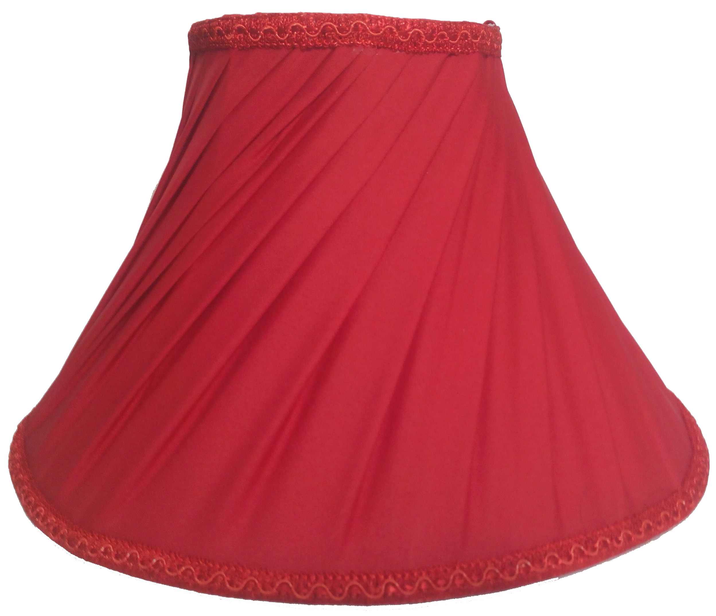RDC 12 Inches Round Slanting Pleated Red with Lace Border Lamp Shade for Table Lamp