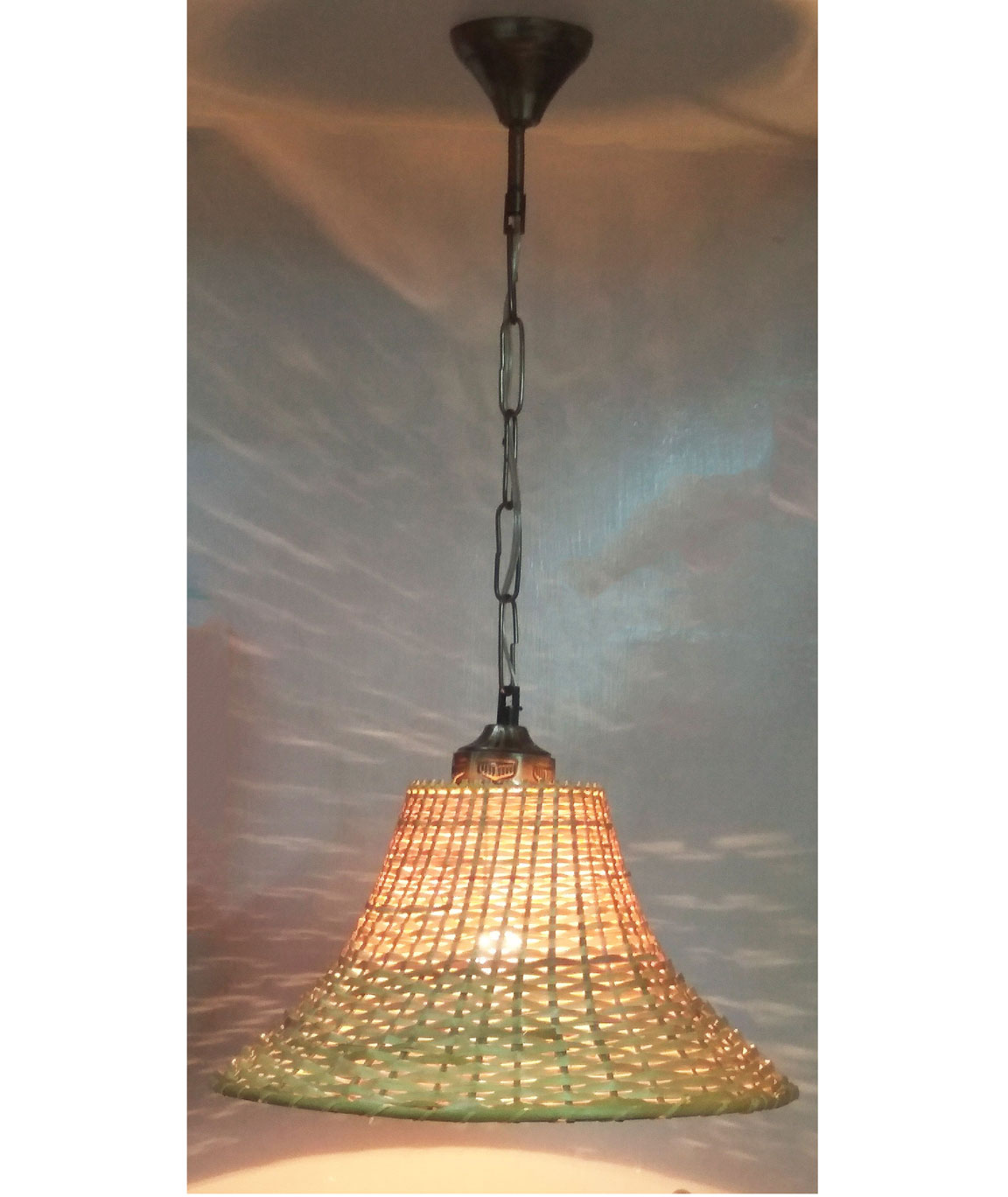 RDC 12 Inches Round Cane Slanting Ceiling Hanging Pendant Lamp Shade with Wired Metal Chain