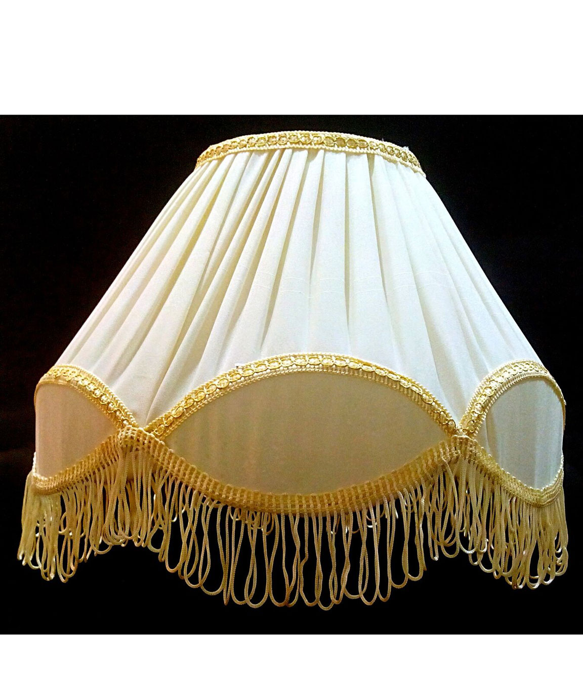 RDC 12 Inches Round Pleated Cream with Golden Lace Border with Frills Lamp Shade for Table Lamp