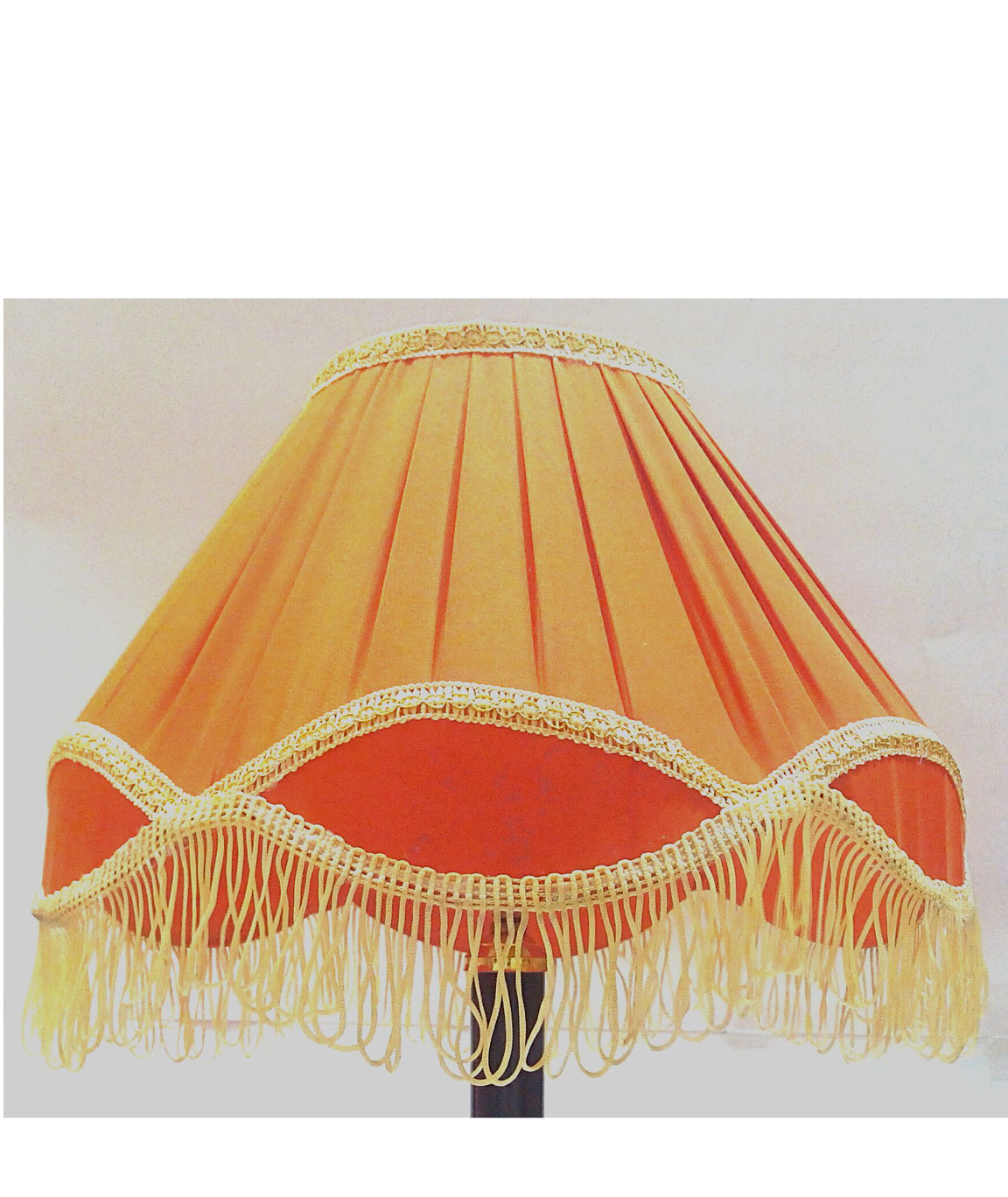 RDC 12 Inches Round Pleated Orange with Golden Lace Border with Frills Lamp Shade for Table Lamp