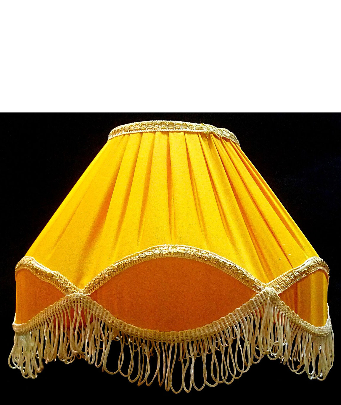 RDC 12 Inches Round Pleated Yellow with Golden Lace Border with Frills Lamp Shade for Table Lamp