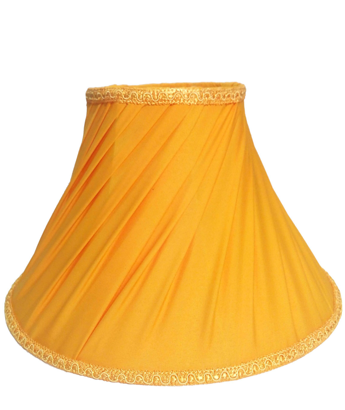 RDC 12 Inches Round Slanting Pleated Yellow with Lace Border Lamp Shade for Table Lamp